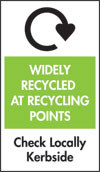 Label for Widely Recycled at Recycling Points, Check Locally, Kerbside