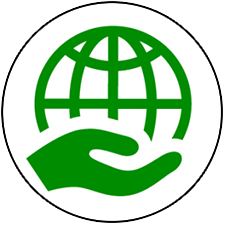 Green Icon of hand holding a globe for environmental sustainability