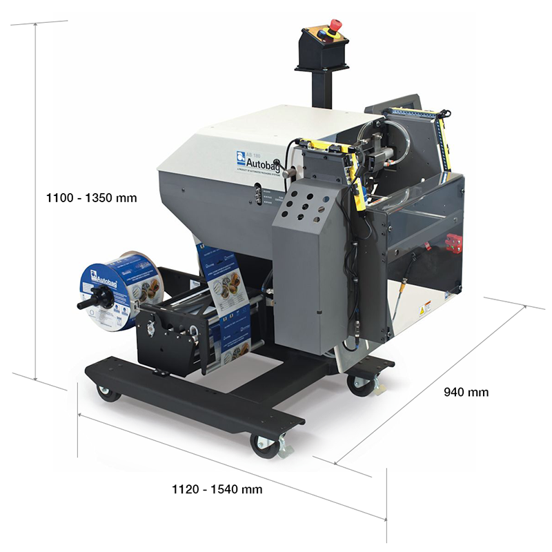 Autobag AB 180 Bagging Machine with dimensions