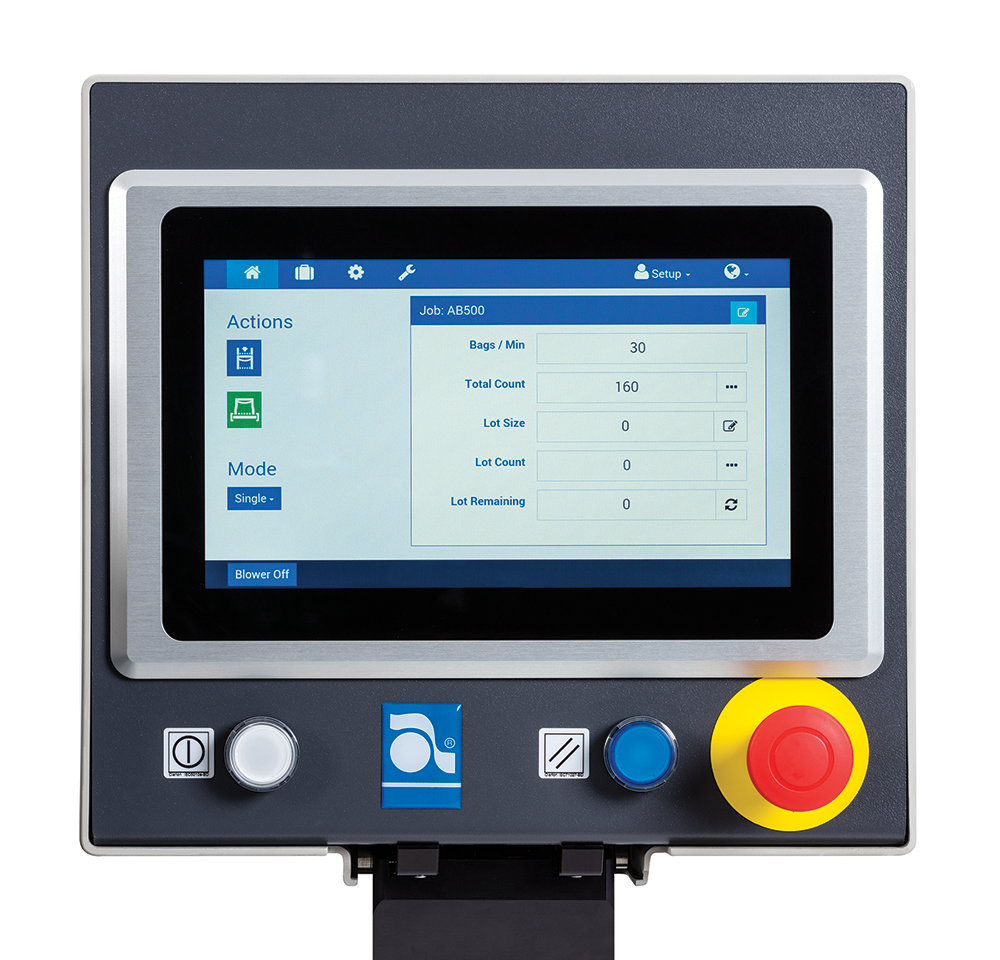 Autobag 500 Series Bagging Systems' AutoTouch Control Screen