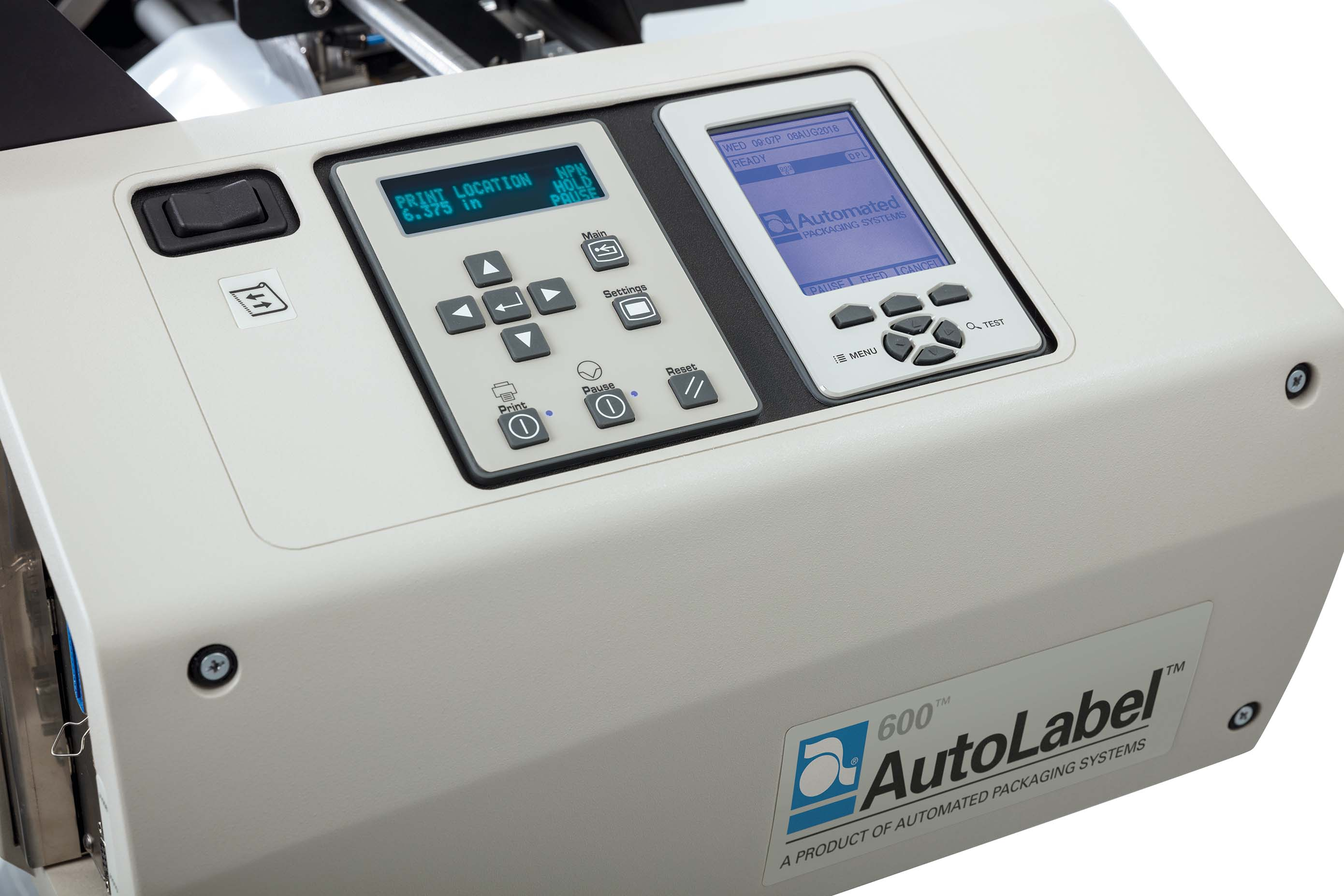 AutoLabel 600 high resolution inline printer control panel