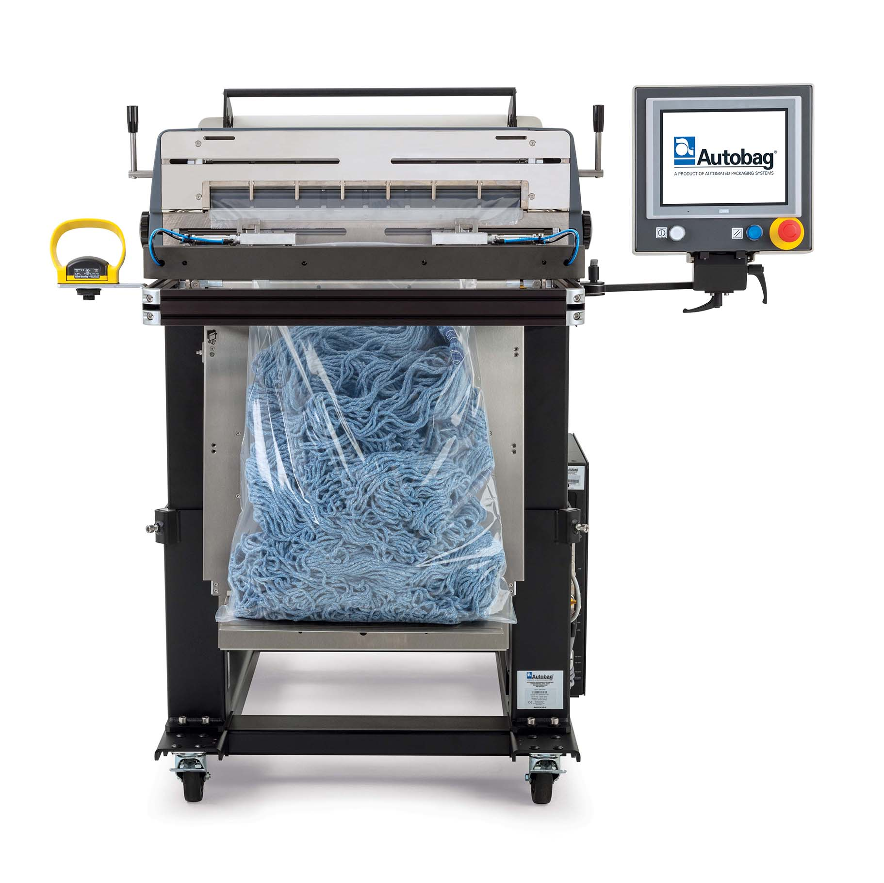 Autobag 800S automatic bag sealer front view mop heads applications
