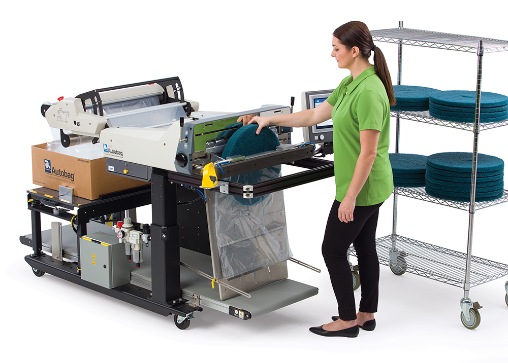 Autobag 800S automatic bag sealer floor scrubbers application