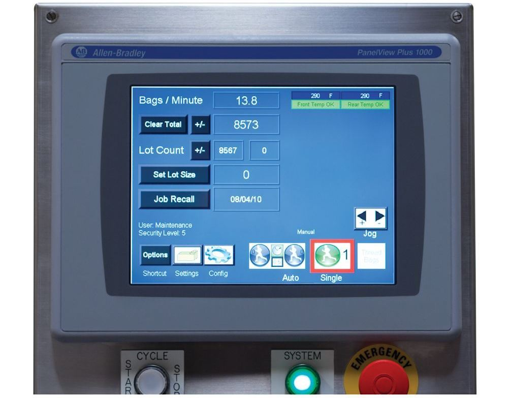 Autofulfillment SPrint bagger AutoTouch screen