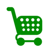 Green icon of a shopping cart
