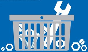 Illustration of a shopping basket with a wrench, nuts and bolts