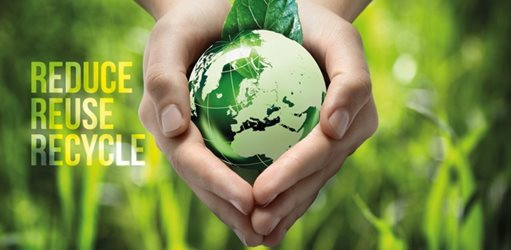 Hands holding a green globe - reduce, reuse, recycle