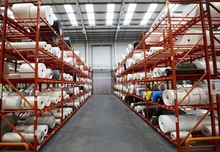 Malvern Plastics Warehouse storage facility housing rolls of plastic bags