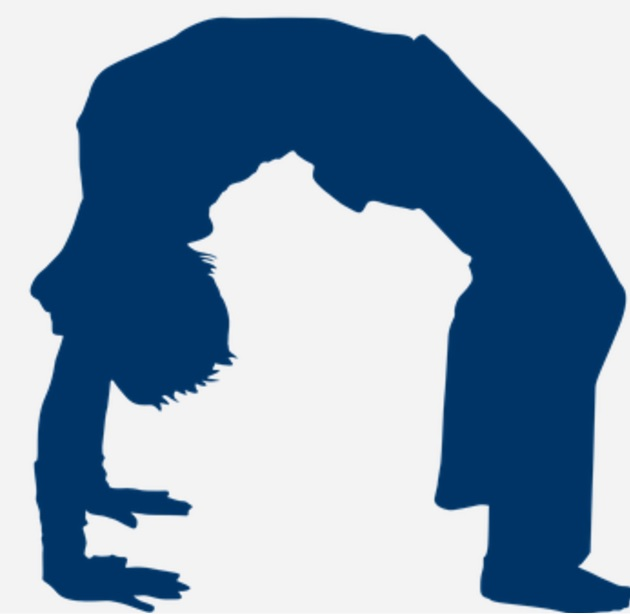 Silhouette of a person doing a back bend