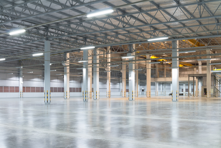 Brightly lit empty warehouse